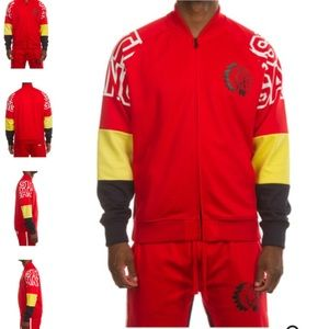 Red Yellow Colorblock Hustle Gang Track Suit Set